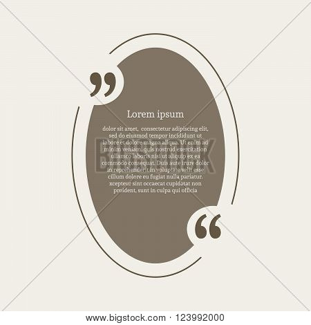 Quotation mark speech bubble. Empty quote blank citation template. Oval design element for business card, paper sheet, information, note, message, motivation, comment etc. Vector illustration.