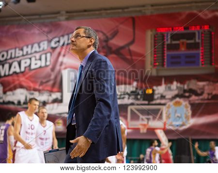 SAMARA RUSSIA - NOVEMBER 06, 2013: BC Krasnye Krylia head coach Sergey Bazarevich during the BC Royal Hali Gaziantep basketball game on November 06 2013 in Samara Russia.