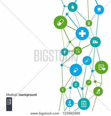 Abstract medicine background with lines, circles and flat icons. Infographic concept with medical, health, healthcare, nurse, DNA, thermometer, pills and cross icons. Vector illustration.