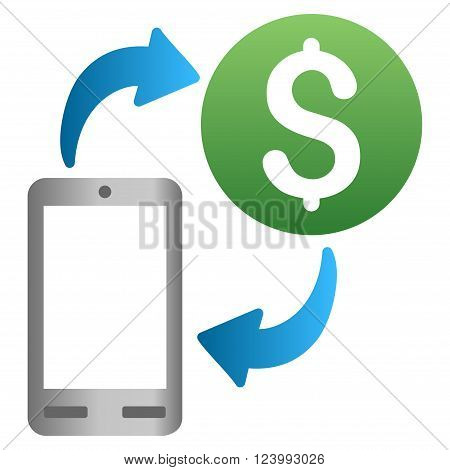 Mobile Money Turnover vector toolbar icon for software design. Style is a gradient icon symbol on a white background.
