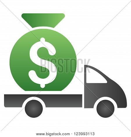 Money Bag Shipment vector toolbar icon for software design. Style is a gradient icon symbol on a white background.