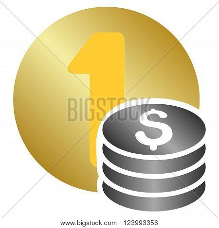 One Dollar Coins vector toolbar icon for software design. Style is a gradient icon symbol on a white background.