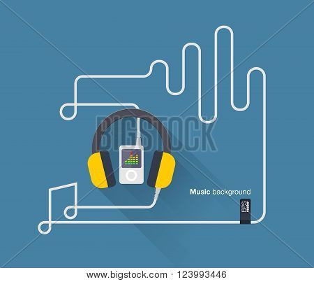 Abstract music background with mp3 player, headphones, cabel notes and music beats. Vector illustration. Flat design.