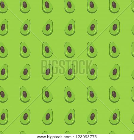 Whole avocado with slice,  seamless pattern background with juicy and tasty fruits