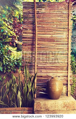 Bamboo fence with plants . plants on a bamboo wall .