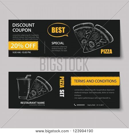 fast food coupon discount template flat design