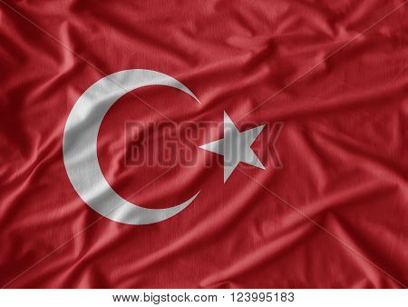 Waving colorful Turkish flag use for art background