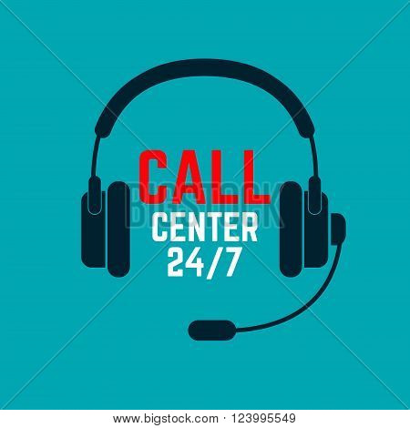 Call center icon. Call center 24. Headphones with microphone. Call center operator.