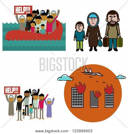 The refugees on the boat. The refugees are asking for help. Syrian refugees. Planes bombed the city. Elements of infographics in the vector.