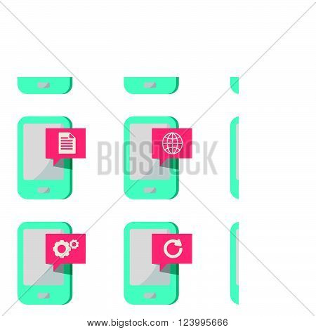 mobile phone with icons symbols vector set