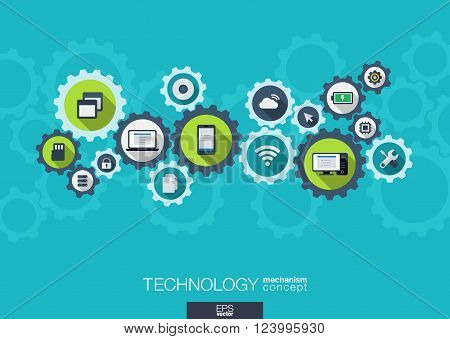 Technology mechanism concept. Abstract background with integrated gears and icons for digital, internet, network, connect, social media and global concepts. Vector infograph illustration. Flat design