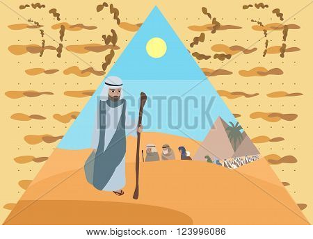 Passover Haggadah - vector illustration of Exodus with matzo background