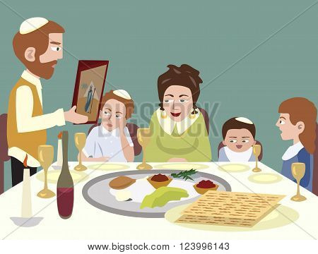 Feast of Passover - colorful vector cartoon  illustration