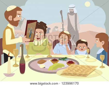 Reading the Haggadah at the Seder table - cartoon vector illustration
