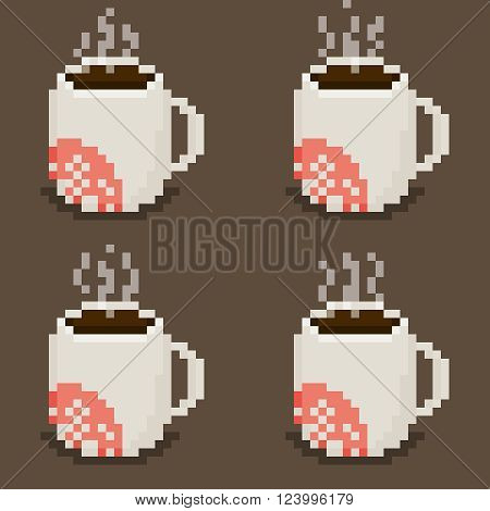 Pixel art mug sprite sheet with steam animation four cups on brown background