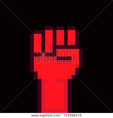 Pixel art background with red fist raised up