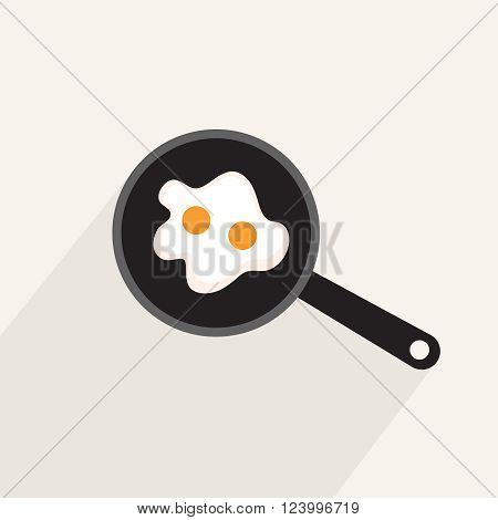 Fried eggs in a frying pan flat icon with long shadow isolated on light background