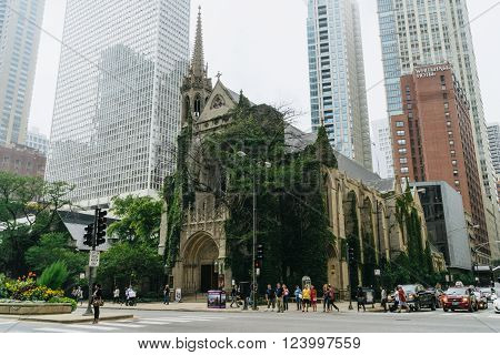 Chicago USA - September 25 2015: Fourth Presbyterian Church in Chicago