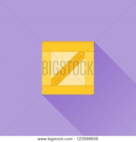 Wooden box flat icon with long shadow on purple background