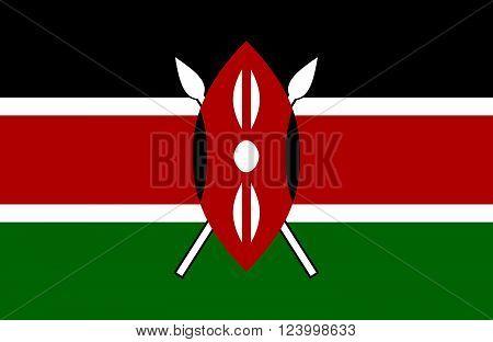 Nice drawing of amazing horizontal Kenyan flag.