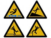 image of slip hazard  - Caution signs figures falling tripping and slipping JPG - JPG