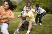 stock photo of tug-of-war  - Team of adults and children playing tug of war outdoors - JPG