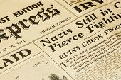 stock photo of hitler  - world war ii british newspaper dated march 16 1944 - JPG