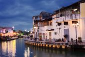 stock photo of malacca  - Malacca city night with house near river under blue sky in Malaysia Asia - JPG