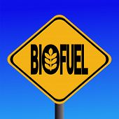 image of ethanol  - Warning Biofuel sign with cereal symbol illustration JPG - JPG