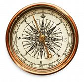 stock photo of longitude  - Old compass on white background - JPG