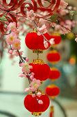 picture of customary  - chinese red lantern with colourful decoration and flowers in the front - JPG