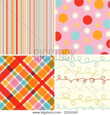 Candy Stripes 4 Pattern Combo (Vector)