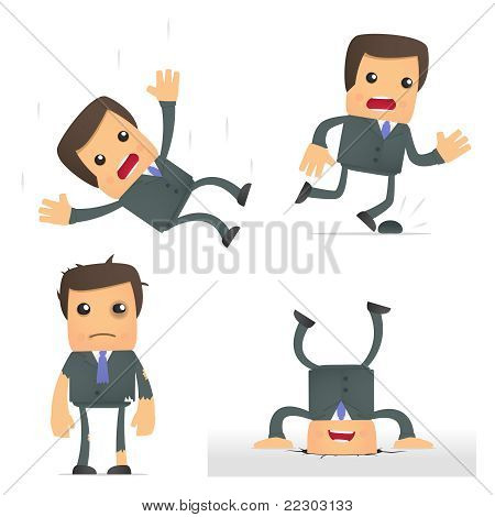 funny cartoon businessman in a dangerous situation