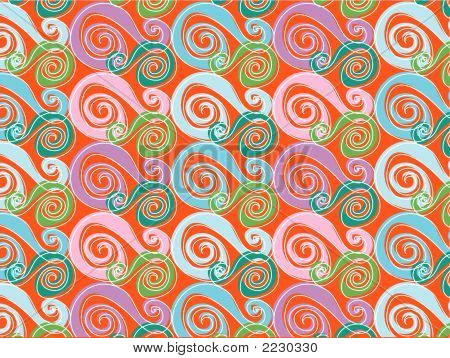 Retro Whirly Pink And Blue (Vector) - Illustrated Background Pattern