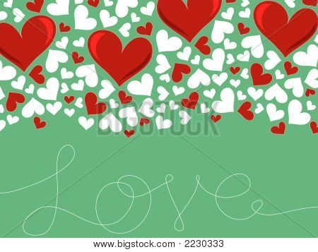 Loopy Love Lines And Red Hearts On Turquoise (Vector) - Illustration