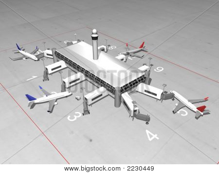3D Airport Render
