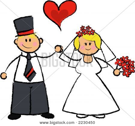 Just Married! (Vector) - Cartoon Illustration Of A Wedding Couple In Fair Skin Tone