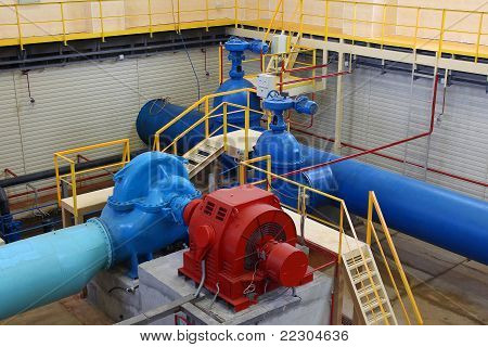 Industrial Interior And Pipes. Water Pumping Station