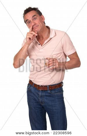 Man Caught Picking Nose and Drinking