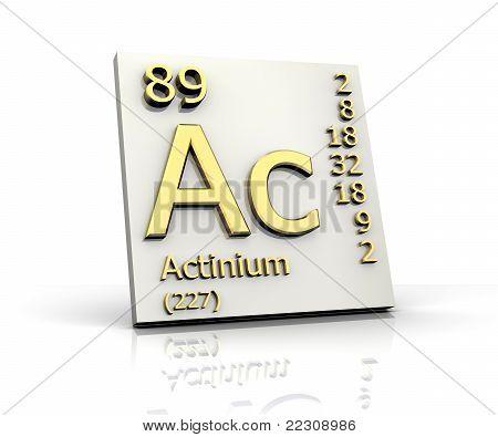 Actinio la tabla de forma periódica de los elementos