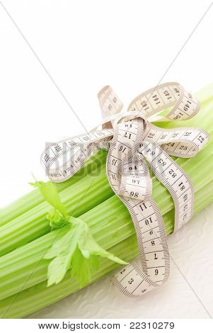Celery With Tape Measure, Concept Of Diet