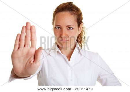 Business Woman Showing Stop With Her Hand