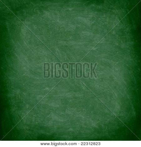 Chalkboard blackboard. Green chalk board texture empty blank with chalk traces.