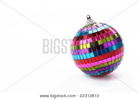 Multicolored christmas ball isolated on white background.