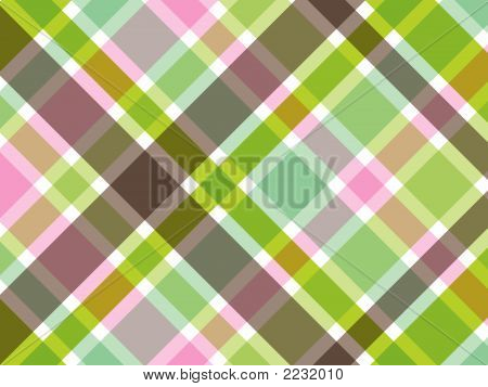 Retro Sweet Pink Green Plaid Pattern (Vector)