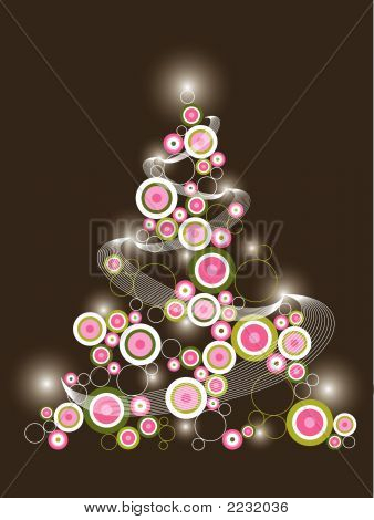 Retro Circle Pink Green Christmas Tree (Vector)