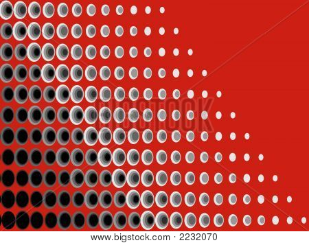 Abstract Halftone Op Art Retro Dots Black Grey On Red (Vector)