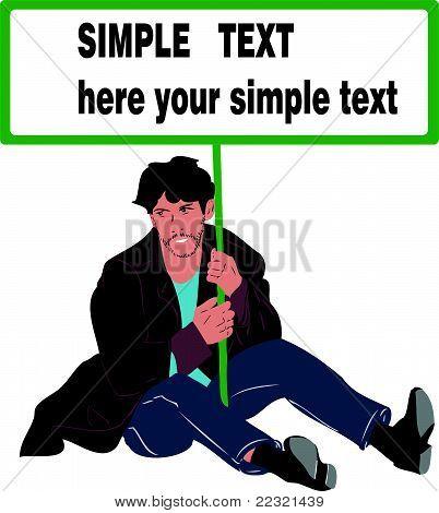 Mann sitzt auf dem Boden mit einem Plakat in Händen