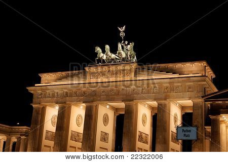 Brandenburg Gate By Night In Berlin