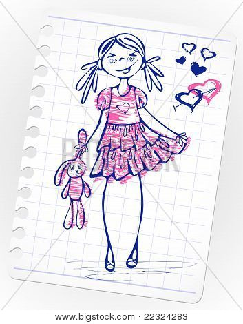 Hand-drawn fashion smile girl with toy on a pink dress